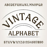 Vintage alphabet. Retro distressed alphabet vector font. Hand drawn letters and numbers Royalty Free Stock Photo