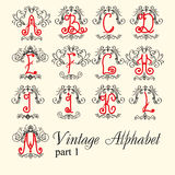Vintage alphabet. set letters part 1 Royalty Free Stock Photography