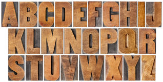 Vintage alphabet set in wood type. Complete English alphabet - set of 26 isolated vintage wood letterpress printing blocks, scratched and stained by ink patina Stock Images