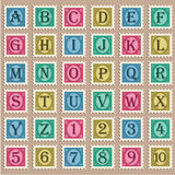 Vintage Alphabet Stamps. Vector set of alphabet and numbers with vintage stamps Royalty Free Stock Images