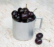 Vintage aluminium mug full of fresh cherries Royalty Free Stock Images