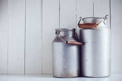 Vintage aluminum milk cans Royalty Free Stock Photos
