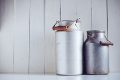 Vintage aluminum milk cans Royalty Free Stock Images