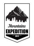 Vintage américain Logo Badge de montagnes illustration stock