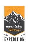 Vintage américain Logo Badge de montagnes Images stock