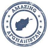 Vintage Amazing Afghanistan travel stamp with map. Royalty Free Stock Photography