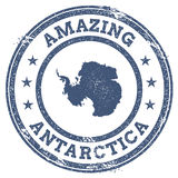 Vintage Amazing Antarctica travel stamp with map. Stock Image