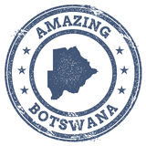 Vintage Amazing Botswana travel stamp with map. Stock Photos