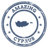 Vintage Amazing Cyprus travel stamp with map. Stock Photos