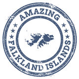 Vintage Amazing Falkland Islands Malvinas. Vintage Amazing Falkland Islands Malvinas travel stamp with map outline. Falkland Islands Malvinas travel grunge Royalty Free Stock Photo