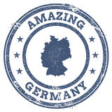 Vintage Amazing Germany travel stamp with map. Stock Photo