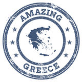 Vintage Amazing Greece travel stamp with map. Vintage Amazing Greece travel stamp with map outline. Greece travel grunge round sticker Stock Photos