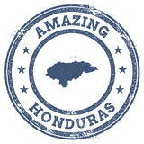 Vintage Amazing Honduras travel stamp with map. Royalty Free Stock Photos