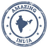 Vintage Amazing India travel stamp with map. Vintage Amazing India travel stamp with map outline. India travel grunge round sticker Royalty Free Stock Image