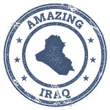 Vintage Amazing Iraq travel stamp with map. Stock Photos