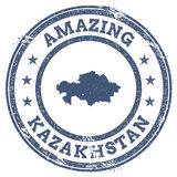 Vintage Amazing Kazakhstan travel stamp with map. Royalty Free Stock Image