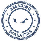 Vintage Amazing Malaysia travel stamp with map. Stock Photography