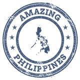 Vintage Amazing Philippines travel stamp with map. Royalty Free Stock Photo