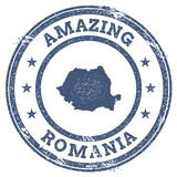 Vintage Amazing Romania travel stamp with map. Vintage Amazing Romania travel stamp with map outline. Romania travel grunge round sticker Stock Image