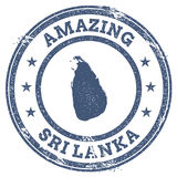 Vintage Amazing Sri Lanka travel stamp with map. Stock Images