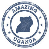 Vintage Amazing Uganda travel stamp with map. Royalty Free Stock Images