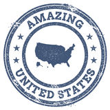 Vintage Amazing United States travel stamp with. Royalty Free Stock Photo
