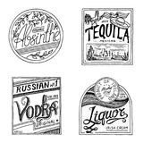 Vintage American absinthe tequila vodka liqueur badge. Alcohol Label with calligraphic elements. Classic frame for. Poster banner. Strong drink. Hand drawn Royalty Free Stock Photo