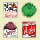 Vintage American absinthe tequila vodka liqueur badge. Alcohol Label with calligraphic elements. Classic frame for. Poster banner. Strong drink. Hand drawn Stock Images