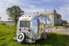Vintage american aluminum trailer stock photography