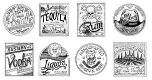 Vintage American badge. Absinthe Tequila Vodka Liqueur Rum Wine Strong whiskey Beer. Alcohol Label with calligraphic. Elements. Frame for poster banner. Hand Royalty Free Stock Photos