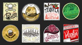 Vintage American badge. Absinthe Tequila Vodka Liqueur Rum Wine Strong whiskey Beer. Alcohol Label with calligraphic. Elements. Frame for poster banner. Hand Stock Photography