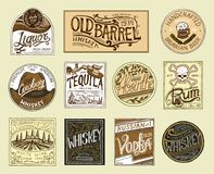 Vintage American badge. Absinthe Tequila Vodka Liqueur Rum Wine Strong whiskey Beer. Alcohol Label with calligraphic. Elements. Frame for poster banner. Hand Royalty Free Illustration