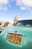 Vintage American Car at Capitolio Building Havana Cuba Royalty Free Stock Images