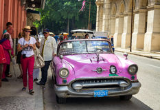 Vintage american car near El FLoridita in Havana Stock Photography