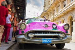 Vintage american car near El FLoridita in Havana Stock Photo
