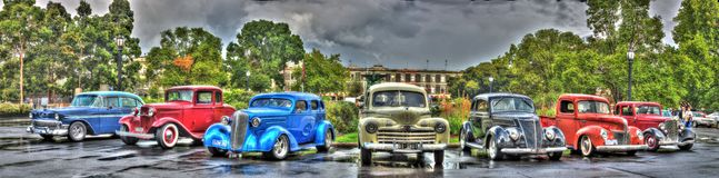 Vintage American cars. On display at the 2016 Victorian Hot Road Show on a rainy day Stock Image