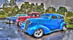 Vintage American cars. On display at the 2016 Victorian Hot Road Show on a rainy day Royalty Free Stock Photography