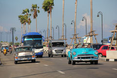 Vintage american cars in Havana Stock Photos