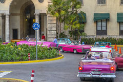 Vintage American cars lined up at the Hotel Nacional Royalty Free Stock Images