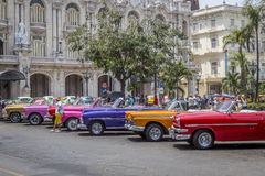 Vintage American cars near Central Park, Havana, Cuba #6 Royalty Free Stock Photo