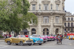 Vintage American cars near Central Park, Havana, Cuba Royalty Free Stock Photography