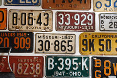 Vintage American cars number plates Royalty Free Stock Image