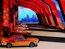 Vintage American Classic Cars Exhibition. Classic cars,  Ford Mustang, aligned under a modern structure at the foreground of a Manhattan view Stock Photos