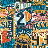 Vintage American college sport graphic patchwork. Abstract vector wallpaper seamless pattern royalty free illustration