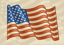 Vintage American Flag. In woodcut style. Vector illustration Royalty Free Stock Photos