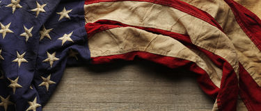 Vintage American flag for Memorial day or Veteran`s day background. Vintage red, white, and blue American flag for Memorial day or Veteran`s day background royalty free stock photo
