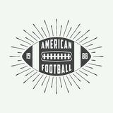 Vintage american football or rugby ball logo, badge or label. Royalty Free Stock Image