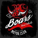 Vintage American furious boar bikers club tee print vector design isolated on black background. Royalty Free Stock Photography