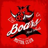 Vintage American furious boar bikers club tee print vector design  on red background. Royalty Free Stock Images