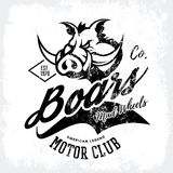 Vintage American furious boar bikers club tee print vector design  on white background. Royalty Free Stock Photography